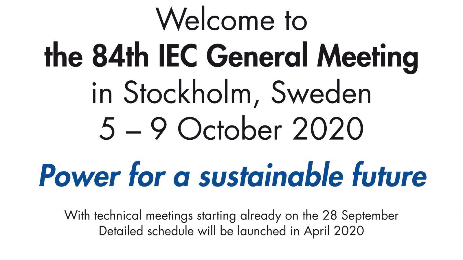Welcome_IEC_General_Meeting_2020_Stockholm_Sweden